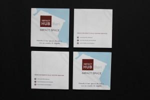 Progettazione grafica brochure Impact Hub Bari - fronte e retro