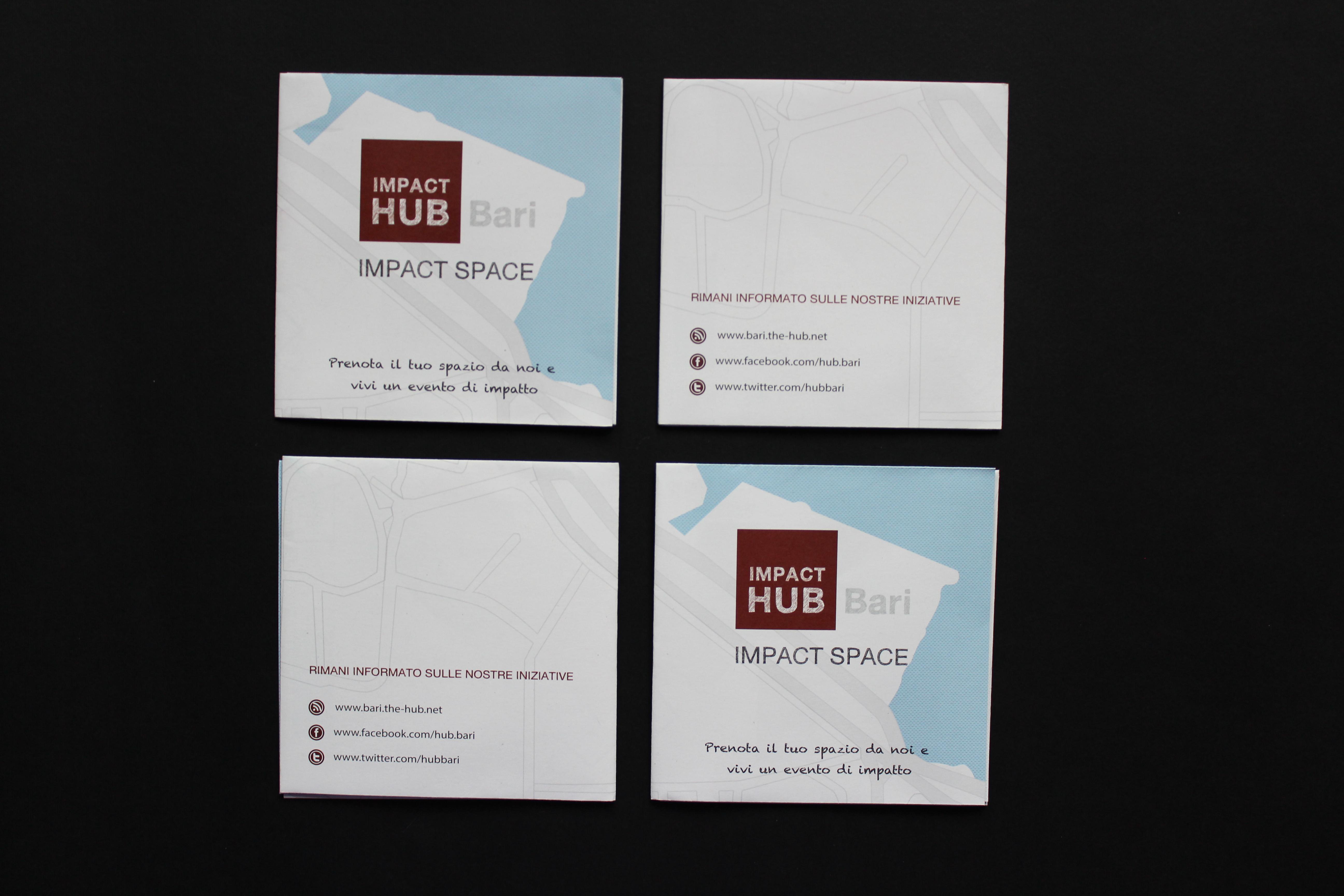 Progettazione grafica brochure Impact Hub Bari – fronte e retro