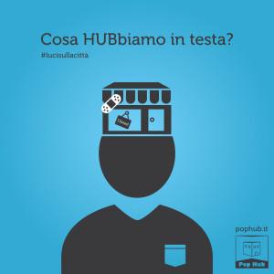 Campagna teasing per Pop Hub - Grafica e illustrazioni Luci sulla città
