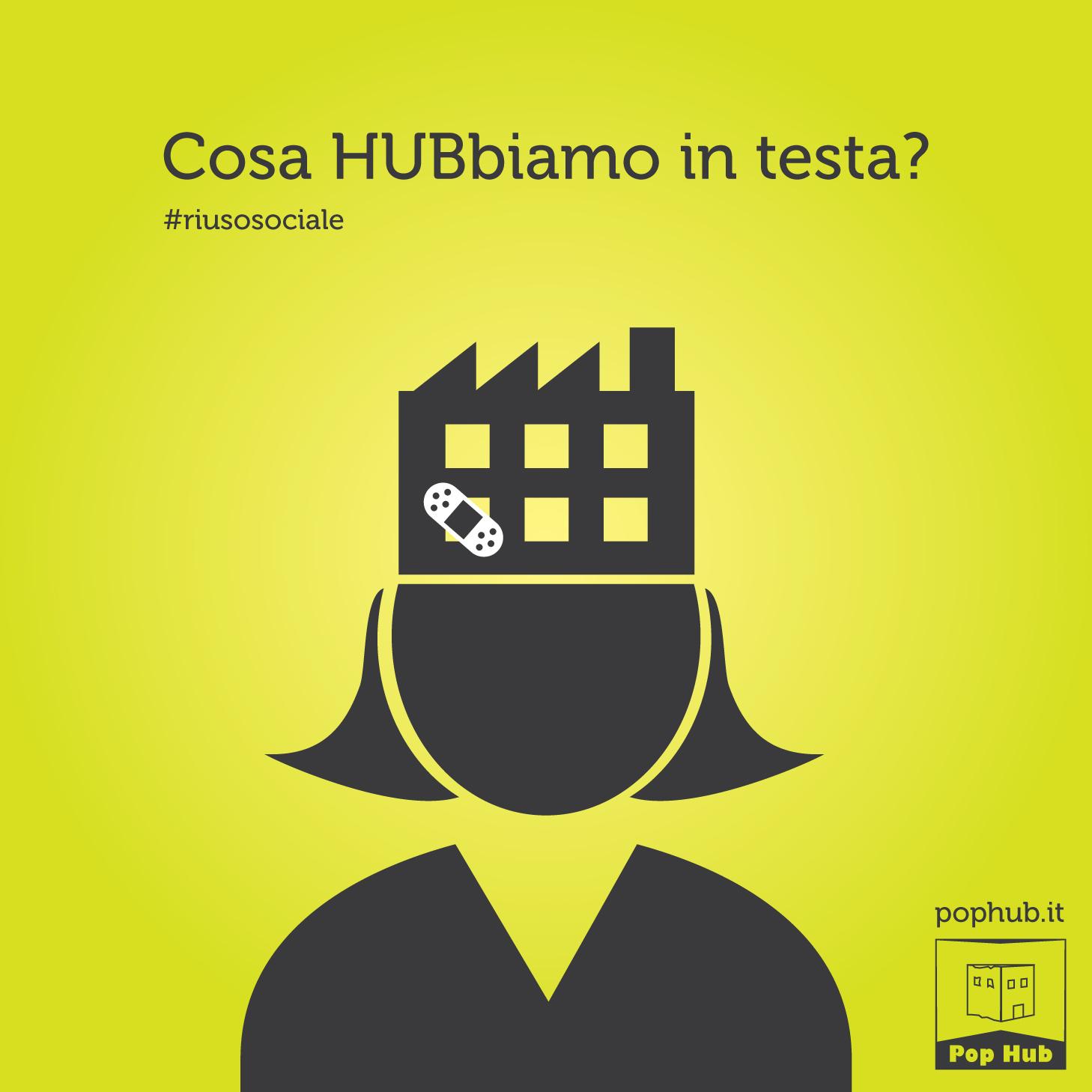 Campagna teasing per Pop Hub – Grafica e illustrazioni Riuso sociale
