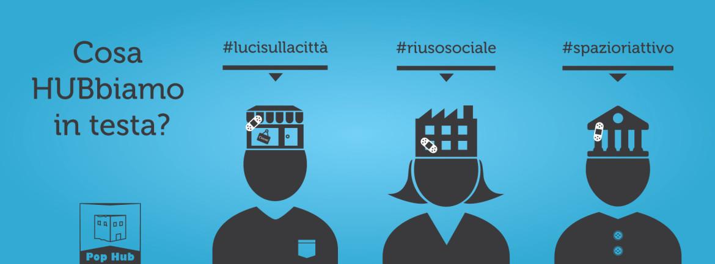 Campagna teasing copertina social blu per Pop Hub - Grafica e illustrazioni
