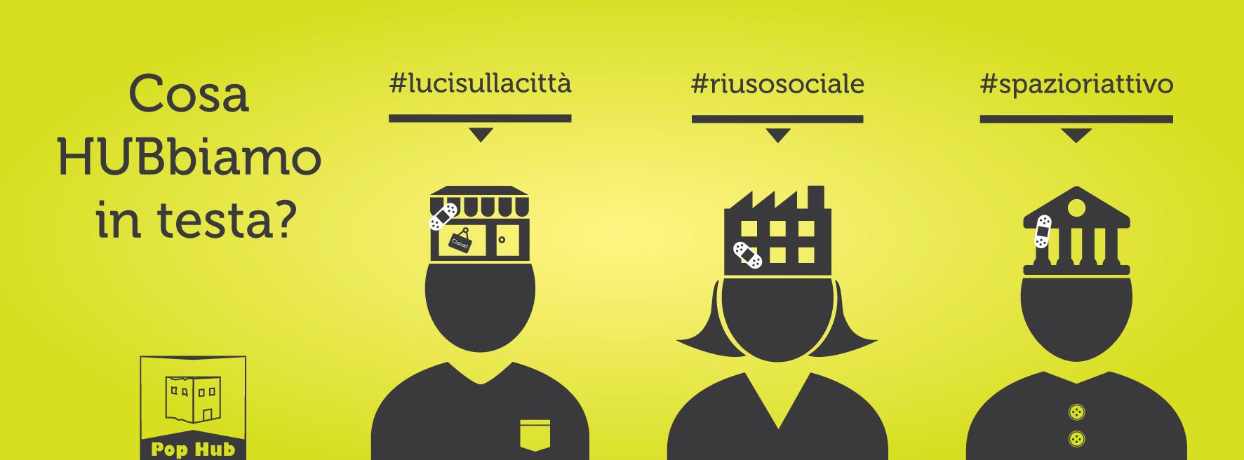 Campagna teasing copertina social gialla per Pop Hub – Grafica e illustrazioni