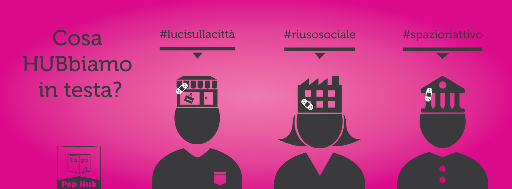 Campagna teasing copertina social fucsia per Pop Hub – Grafica e illustrazioni