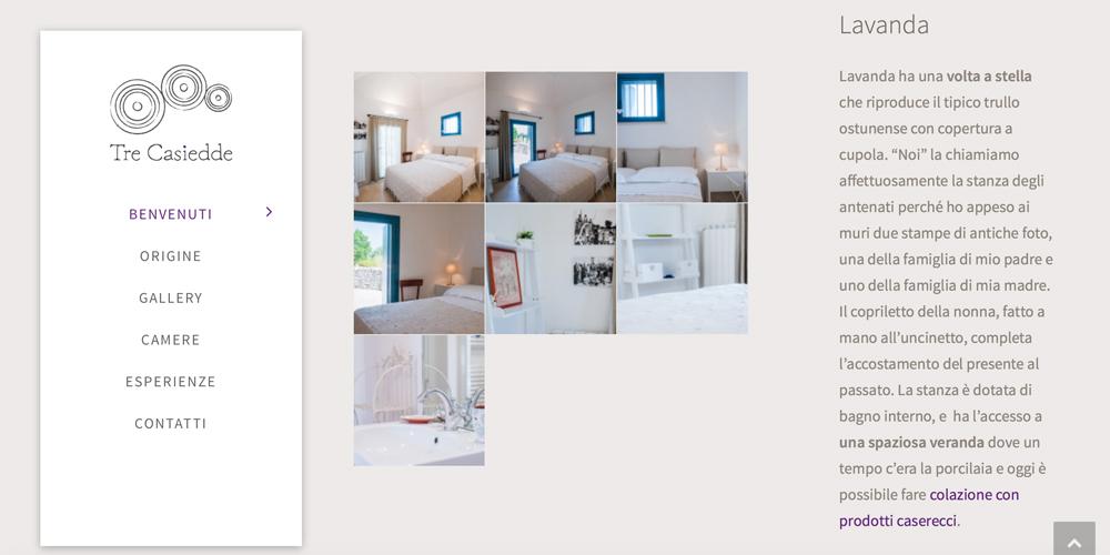 Web design, naming e brand Identity per il sito Tre Casiedde – Camere