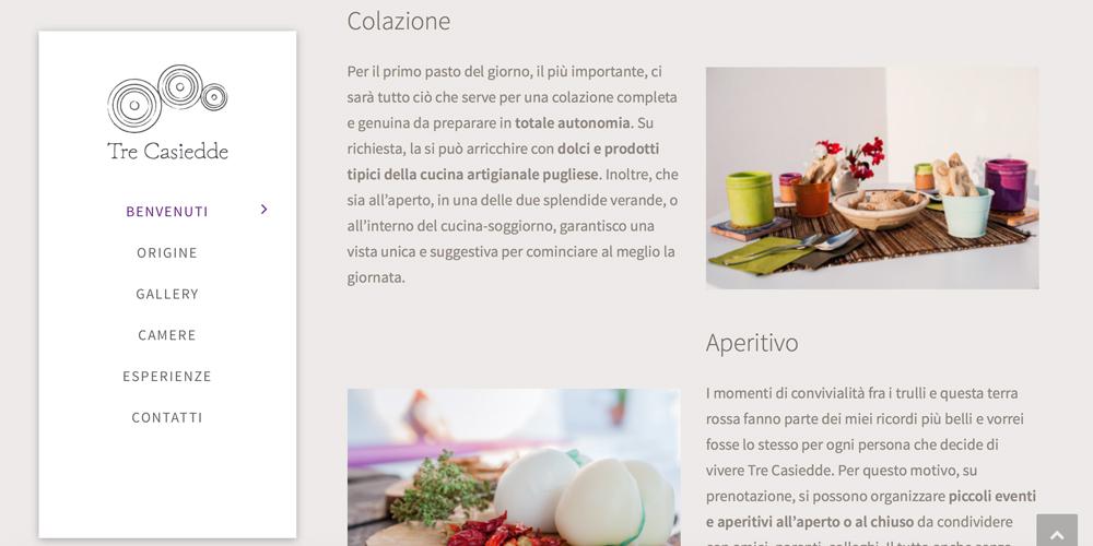 Web design, naming e brand Identity per il sito Tre Casiedde – Esperienze 2