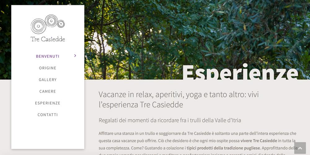 Web design, naming e brand Identity per il sito Tre Casiedde – Esperienze