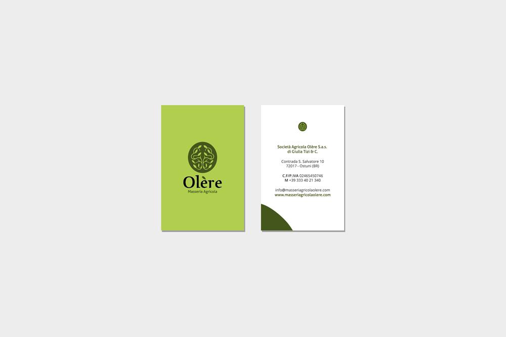 Comunicazione visiva: Branding e Stationary per Olère – Bigliettini da visita