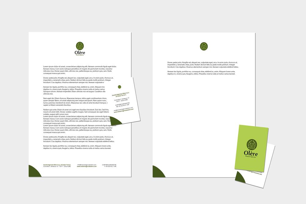 Comunicazione visiva: Branding e Stationary per Olère – Carta intestata e biglietti da visita