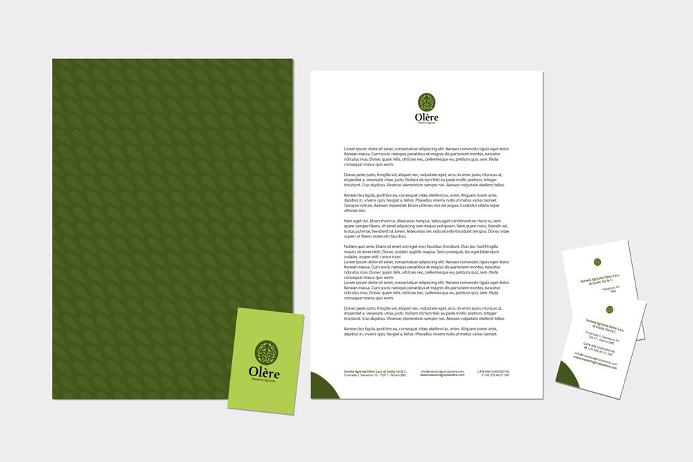 Comunicazione visiva: Branding e Stationary per Olère – Carta intestata e copertina